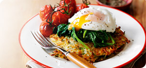 Potato rosti stack with vine tomatoes